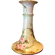 SALE Beautiful Limoges Porcelain Candlestick ~ Hand Painted with Pink Roses ~ Charles Martin F