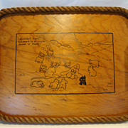SALE Adorable Original Hand Crafted Wooden Tray ~ Rope Edge ~ Amos & Andy Cartoon ~ Signed Huc