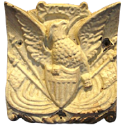 SALE Cast Iron Architectural Piece With Shield-Breasted American Eagle and Flags ~ Victor Iron