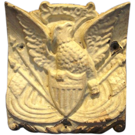 Cast Iron Architectural Piece With Shield-Breasted American Eagle and Flags ~ Victor Iron Works late 1800's