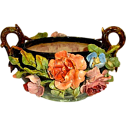 SALE Exquisite French Barbotine Basket / Jardiniere  / Centerpiece with Handle ~ attributed to