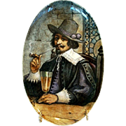 SALE Wonderful Oval French Faience Plaque ~ Gentleman Smoking a Pipe Drinking a Glass of Beer 