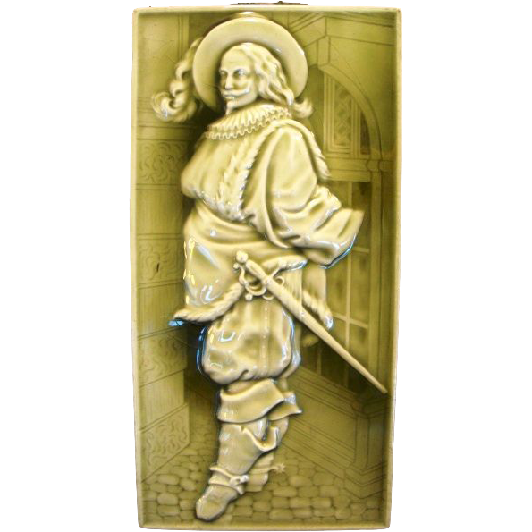 "Excellent 12"" Majolica Tile of a Cavalier Gentleman ~ Raised Relief with Green Glaze~ Minton China Works Stoke on Trent England 1868-1918"