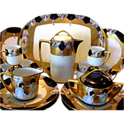 SALE IMPRESSIVE and elegant. Limoges / Bavaria Porcelain 20 PIECE CHOCOLATE Set ~ Hand Painted