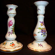 SALE 2 � Wonderful German Candlesticks / Holders ~ Dresden Flowers ~ Richard Klemm ~ Dresden G