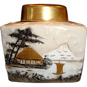 SALE Beautiful Tea Caddy ~ Limoges Porcelain ~ Hand Painted with Oriental Scene ~ Initialed MJ