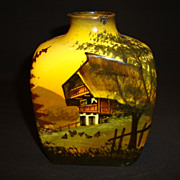 SALE German Black Forest Majolica hand painted Tea Caddy / Flask ~ Mountain Chalet Scene ~ ...