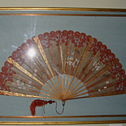 SALE Extraordinary Large 27 Hand Held Fan with Alencon Lace Trim Framed ~ Hand Painted with B