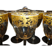 SALE Set of 12 ~Unique Hand Blown Venetian / Murano 8 OZ Wine / Cocktail Glasses ~  Gold Desig