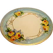 SALE Gorgeous Limoges Porcelain Tray ~ Hand Painted with Yellow Roses & Golden Spider Webs ~ T