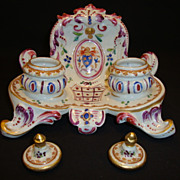 SALE Exquisite Double Inkwell ~ French Porcelain ~ French Decorated with Fluer De Lis ~ EDME S