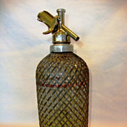 SALE Vintage Aerator Ltd. Makers London Red Line Mesh Wrapped Glass Seltzer Bottle ~ Mid 1900