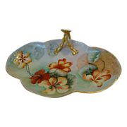SALE Beautifully Limoges Porcelain Nappy ~ Hand Painted with Orange & Yellow Nasturtiums Flowe