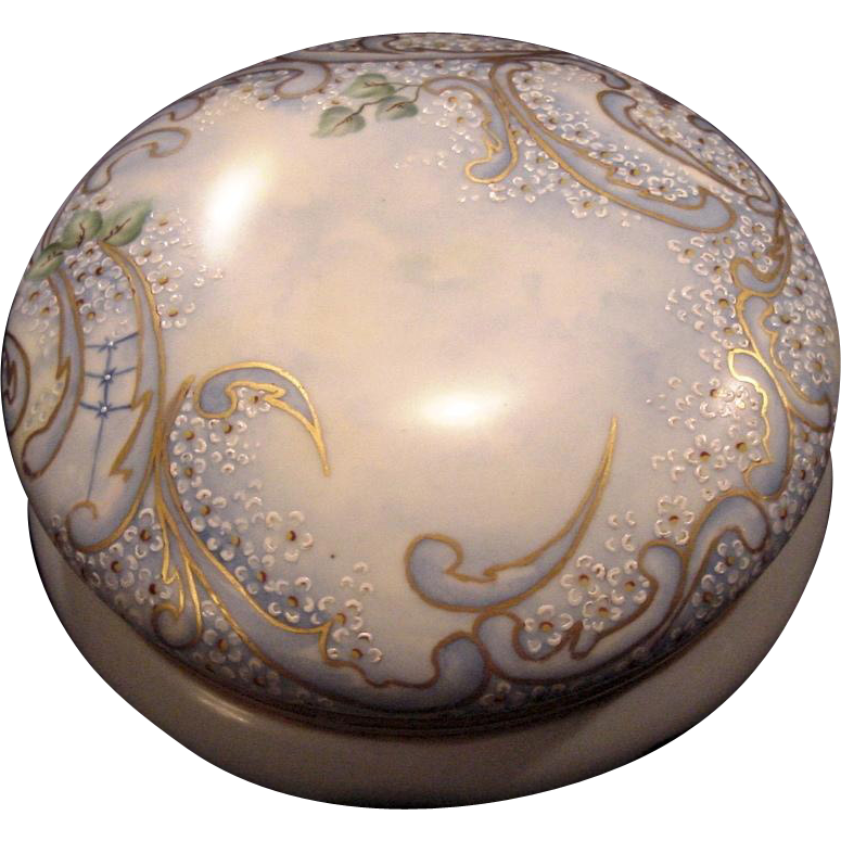 Exquisite 7 3/4&quot; Austrian Bon Bon Jar / Dresser Box ~ Artist Signed & Dated ~ Hand Painted with White Enamel Flowers ~ OE&G Royal Austria ~Oscar and Edgar Gutherz, Austria 1899-1918