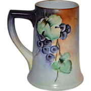 SALE Large Limoges Porcelain ~ Mug / Stein / Tankard ~ Hand Painted with a Vibrant Purple Grap