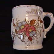 SALE Awesome Polychrome English Shaving Mug ~ Red and Blue Petunia ~ Cumberlidge & Humphreys ~