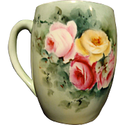 SALE Dainty Limoges Porcelain Mug ~ Hand Painted with Pink & Yellow Roses ~ Tressemann & Vogt 