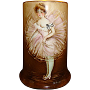 SALE Unique Limoges Porcelain Mug ~ Hand Painted with French Dancer ~ Artist Signed ~ William 