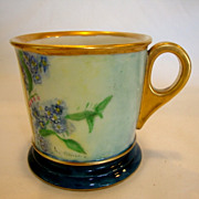 SALE Beautiful Shaving Mug ~Limoges Porcelain~ Hand Painted with Blue Forget me Nots ~ Monogra