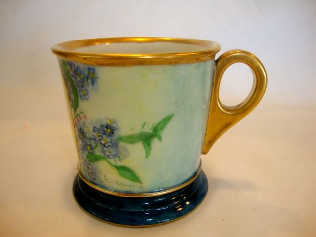 Beautiful Shaving Mug ~Limoges Porcelain~ Hand Painted with Blue Forget me Nots ~ Monogrammed with `W'  ~ Artist Signed / Dated ~ William Guerin Limoges France 1900-1932