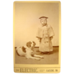 Wonderful Cabinet Card of Boy and Dog~ The Electric. ~ Laclede, MO 1880�s