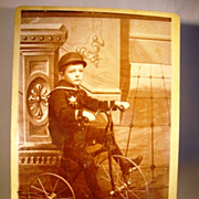 SALE Wonderful Cabinet Card of Boy and His Tricycle ~  EB Hinman Pittsburg KS 1880�s