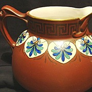SALE Wonderful American Faience / Majolica Pitcher ~ Hand Painted Burgundy Brown with Art Deco