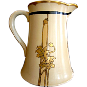 SALE Unique & Rare Limoges Porcelain 50 Oz Pitcher ~ Hand Painted with golden Poppy Leaves & P