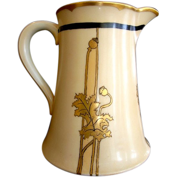 Unique & Rare Limoges Porcelain 50 Oz Pitcher ~ Hand Painted with golden Poppy Leaves & Pods ~ Artist Signed ~ Theodore Haviland France 1903