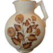 Gorgeous Avalon Faience / Nearly 13&quot; tall! Majolica Balt Ivory Decorative Moon Shaped Pitcher with Brown Chrysanthemums ~ Chesapeake pottery DF Haynes & Son Co 1879  1900