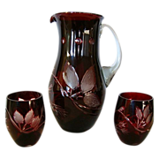 SALE Fantastic Hand-blown and Hand-Cut Dark Ruby Overlay Bohemian Pitcher with Two Tumblers ~ 
