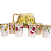 SALE Hand painted Belleek Lemonade / Cider Pitcher with (6) Matching TV Limoges Cups � CAC Bel