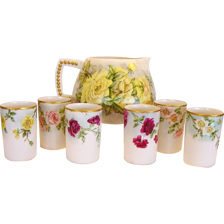 Hand painted Belleek Lemonade / Cider Pitcher with (6) Matching TV Limoges Cups – CAC Belleek & TV Limoges ca. 1900-1907