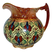 SALE Colorful Faience / Earthenware Haynes Balt Ware Pitcher ~ Art Nouveau Pattern ca.1900  ..
