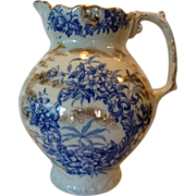 SALE Amazing Earthenware Water Pitcher ~ Blue Floral Transfers ~ Alaska Pattern ~ C. & H. Cock
