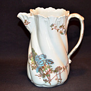 SALE Beautiful Torse Shaped Pitcher / Creamer ~ Limoges Porcelain ~ Blue Roses ~ A K Lanternie