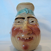 "SALE LARGE SIZE 8 1/4"" Tall Jolly Fellow Face Jug  ~ Sarreguemines France / Germany 1894-"