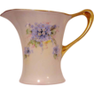 Unique Shaped  Bavarian Porcelain Pitcher ~ Hand Painted with Blue, White and Pink Flowers ~ Stouffer Studio Decorated ~ Pattern Cacilie ~ Huthenruther,  Selb Bavaria / Favorite   1906-1914