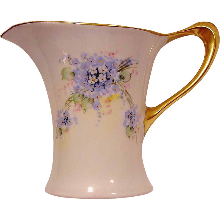 Unique Shaped  Bavarian Porcelain Pitcher ~ Hand Painted with Blue, White and Pink Flowers ~ Stouffer Studio Decorated ~ Pattern &quot;Cacilie&quot; ~ Huthenruther,  Selb Bavaria / Favorite   1906-1914