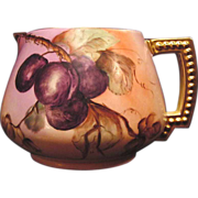 SALE Delightful Limoges Porcelain Lemonade / Cider Pitcher ~ Hand Painted with Deep Purple Plu