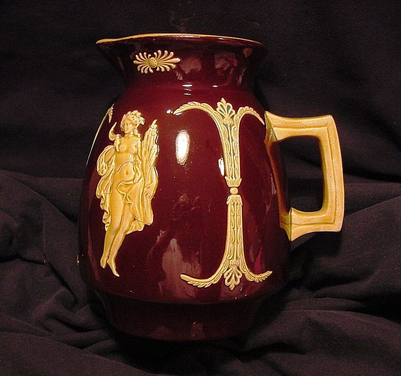 UNBELIEVABLE Brown English Glaze Majolica Pitcher Decorated with Goddess Appliqu�s. ~ Josiah Wedgwood 1890's