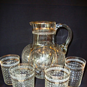 SALE Unbelievable Floral Etched European Water Pitcher and Set of Four Tumblers ~ Hand Blown ~