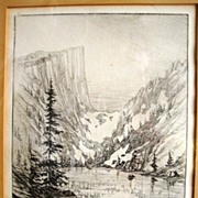 SALE Rare Drypoint Engraving Print of Dream Lake at Rocky Mountain National Park Estes Park ..