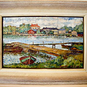 SALE Wonderful Oil on Canvas of a Maritime / Nautical / Sea Shore Impressionist Landscape with