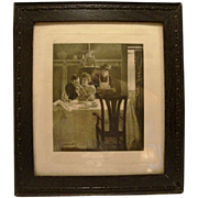 SALE 1906 Engraving by Geo W Barratt ~ Their First Breakfast ~ Life Publishing Co