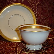 SALE 12 Available Pickard Footed Cup & Saucer ~  Hand Painted with Encrusted Diamond Rim ~ ...