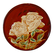SALE Unique & Beautiful Japanese Plaque / Plate with Majolica like White Roses ~ Japan 1920�s