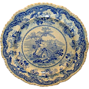 SALE Wonderful 10 �� English Earthenware Aesthetic Cabinet Plate ~ Blue Transfer ~ Chinese Mar