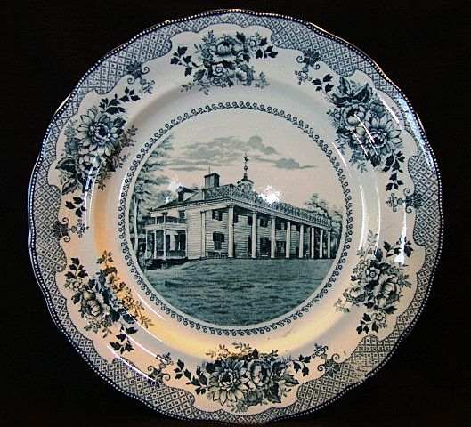 Nice Dark Teal Transferware Plate ~ American Scenes: Washington Home Mt. Vernon~ Buffalo Pottery Buffalo NY 1903-1910