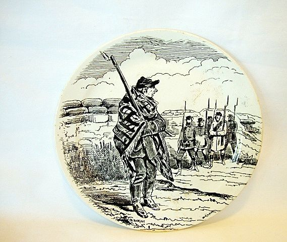 French Faience Plate ~ National Guard Series ~ Paris Under Siege ~ BARLUET & Co (Creil & Montereau, France) - ca 1876 - 1884 B & Cie Creil et Montereau France